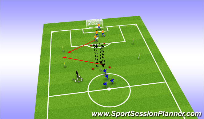 Football/Soccer Session Plan Drill (Colour): U8 Boys ADP pass, sprint , reaction drill
