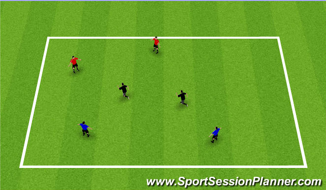 Football/Soccer Session Plan Drill (Colour): three team possession - in 2s
