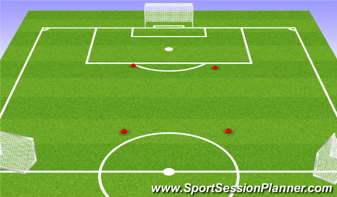 Football/Soccer Session Plan Drill (Colour): 8v8 +1 Neutral Scrimmage w/ Small  Goals