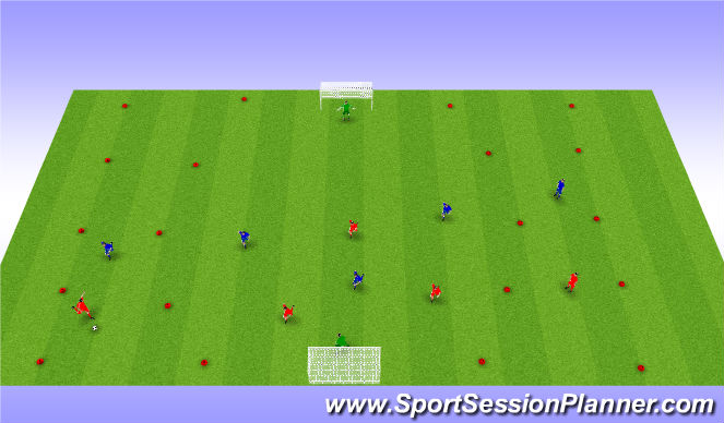 Football/Soccer Session Plan Drill (Colour): Crossing & finishing SSG