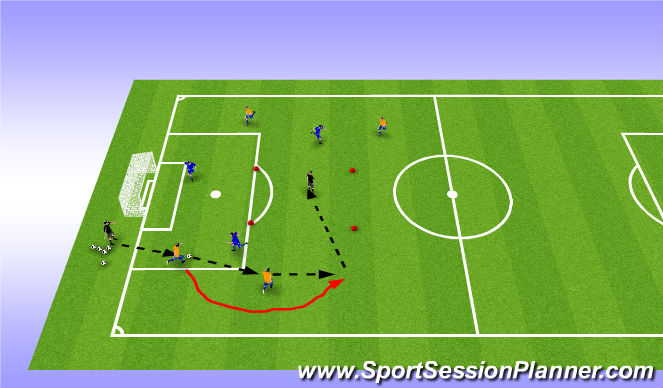 Football/Soccer Session Plan Drill (Colour): movement off the ball/support