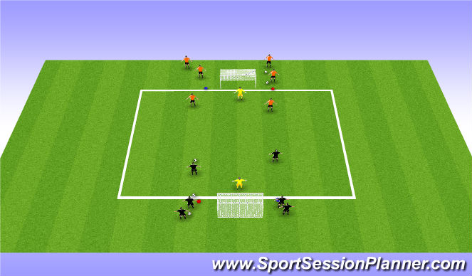 Football/Soccer Session Plan Drill (Colour): 2v2 Transition Game