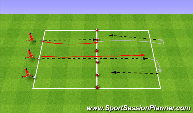 Football/Soccer Session Plan Drill (Colour): Bowling. Kręgle.