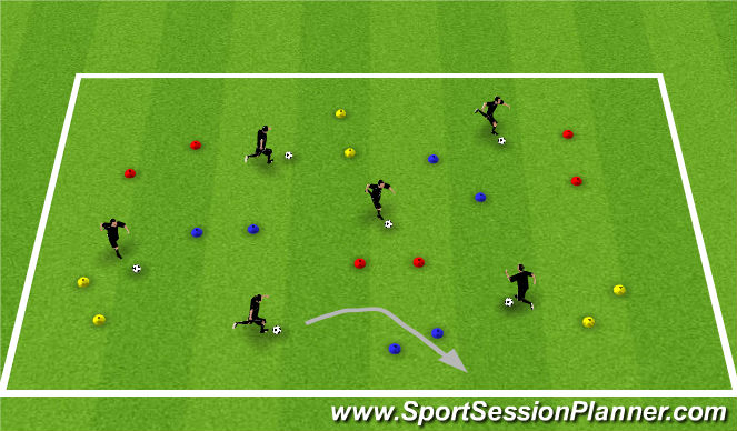 Football/Soccer Session Plan Drill (Colour): Warm-up - dribbling through Gates