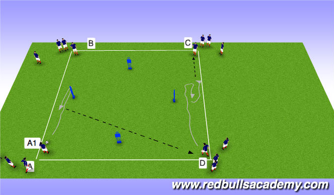 Football/Soccer Session Plan Drill (Colour): Side coerver box.
