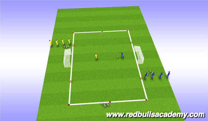 Football/Soccer Session Plan Drill (Colour): 1 v. 1s in transition