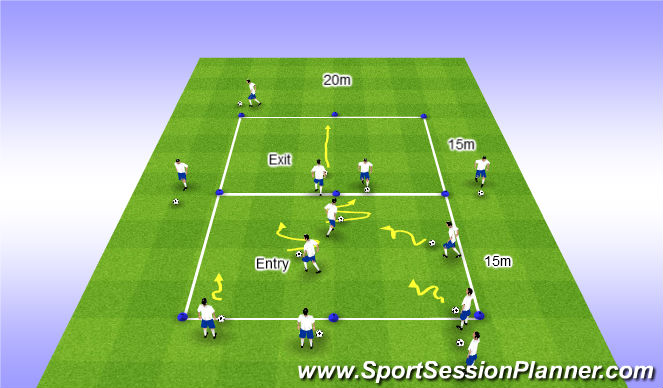 Football/Soccer Session Plan Drill (Colour): Skill Intro Variaiton