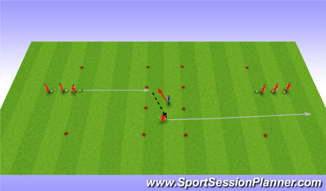 Football/Soccer Session Plan Drill (Colour): Dribble -Pass-Dribble
