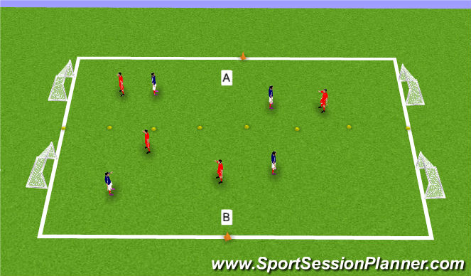 Football/Soccer Session Plan Drill (Colour): Long zone game.