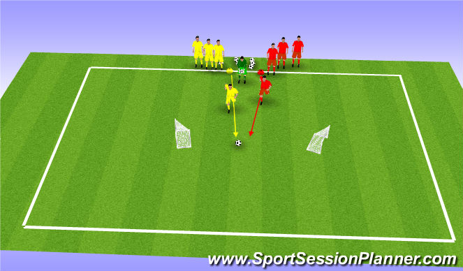 Football/Soccer Session Plan Drill (Colour): 1v1 back to back goals