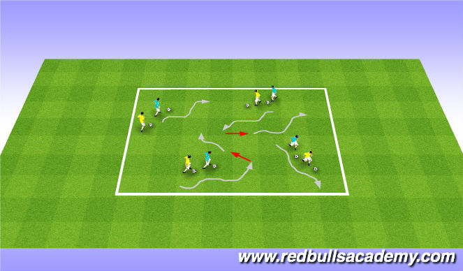 Football/Soccer Session Plan Drill (Colour): Cat and Mouse