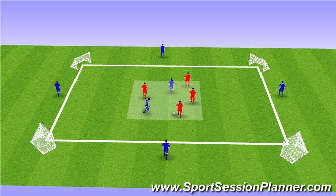 Football/Soccer Session Plan Drill (Colour): 4v2-/ 6v4 possession