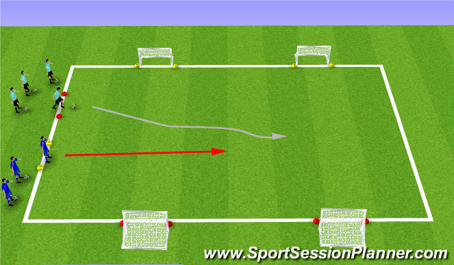 Football/Soccer Session Plan Drill (Colour): SSG 1v1 To 4 Goals
