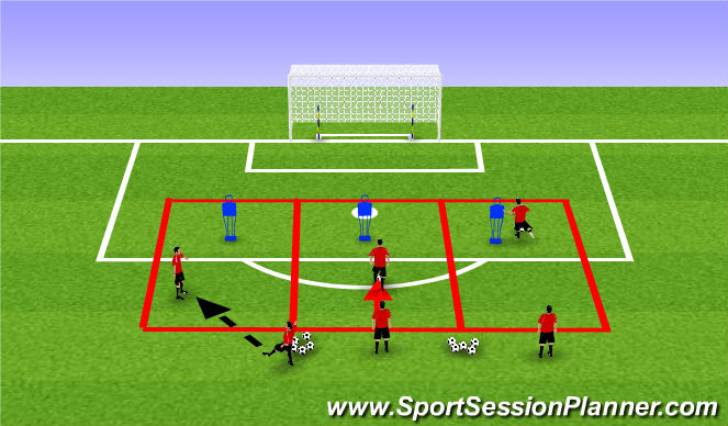 Football/Soccer Session Plan Drill (Colour): Dribbling and Finishing Activity