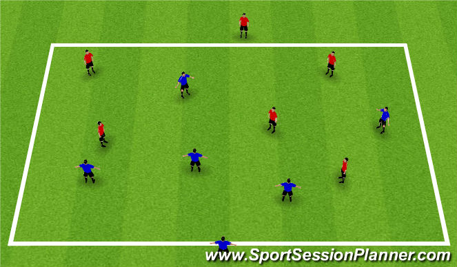 Football/Soccer Session Plan Drill (Colour): 5v5 Plus 1 Drop Option