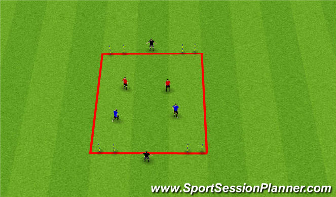 Football/Soccer Session Plan Drill (Colour): 2v2 + 2 Bumper Players