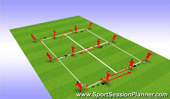 Football/Soccer Session Plan Drill (Colour): Passing and moving warmuo