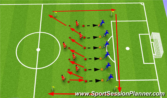 Football/Soccer Session Plan Drill (Colour): High Intensity Passing