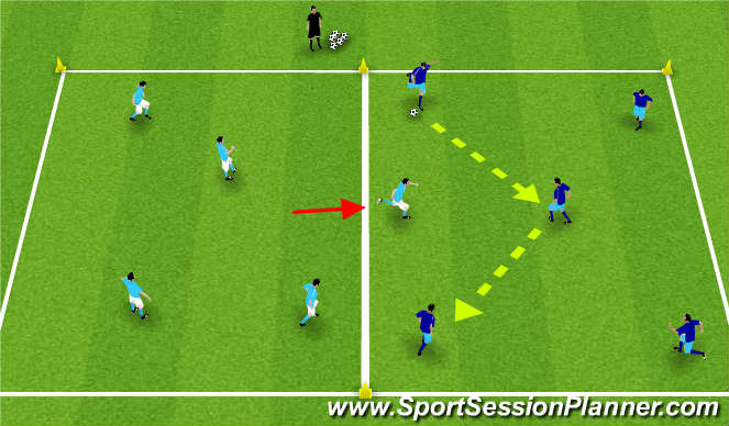 Football/Soccer Session Plan Drill (Colour): 2 Grid Possession Game