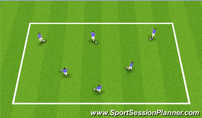 Football/Soccer Session Plan Drill (Colour): Joggling/Ball Mastery
