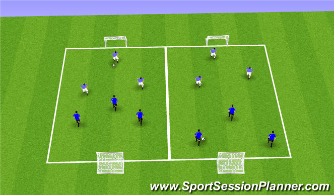 Football/Soccer Session Plan Drill (Colour): 3vs3 Possession/Finishing