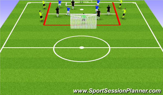 Football/Soccer Session Plan Drill (Colour): 3) 4v4 + 4 Neutrals Olders
