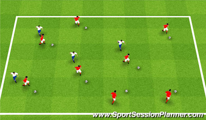 Football/Soccer Session Plan Drill (Colour): Warm up - Tag game