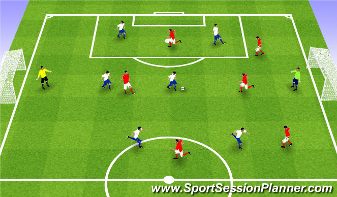 Football/Soccer Session Plan Drill (Colour): Game 6v6 (7v7)