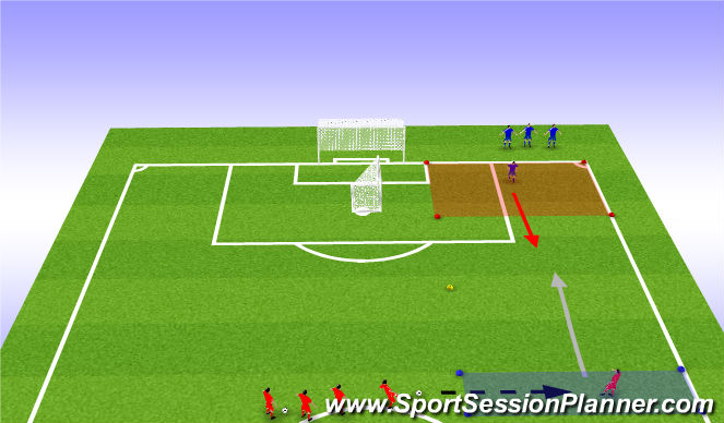 Football/Soccer Session Plan Drill (Colour): 1v1 Wide Area To Cross