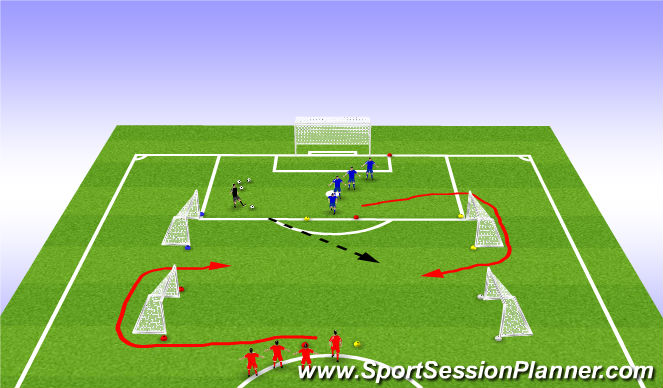 Football/Soccer Session Plan Drill (Colour): 1v1 Middle Of Field