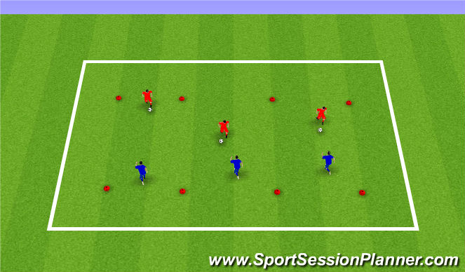 Football/Soccer Session Plan Drill (Colour): Warm Up 1v1