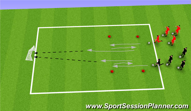 Football/Soccer Session Plan Drill (Colour): Stop turn race.