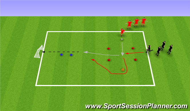 Football/Soccer Session Plan Drill (Colour): Step on and defend