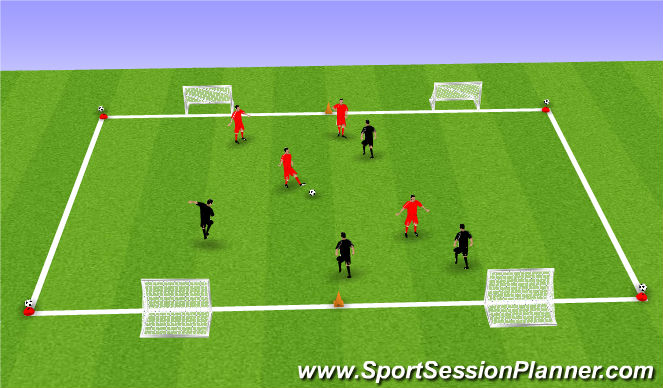 Football/Soccer Session Plan Drill (Colour): SSG 5 ball game.