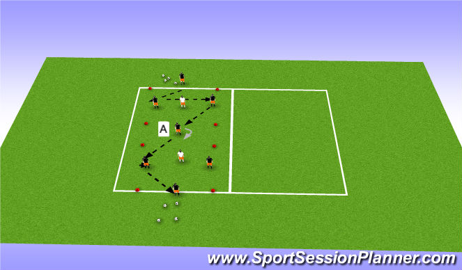 Football/Soccer Session Plan Drill (Colour): Playing through lines