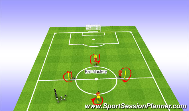 Football/Soccer Session Plan Drill (Colour): warm up-ball manipulation