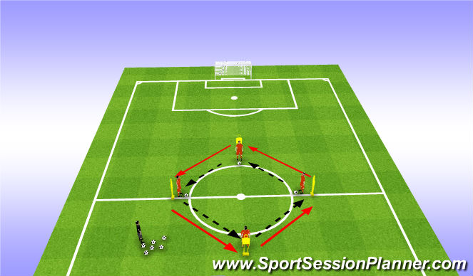 Football/Soccer Session Plan Drill (Colour): Weak foot + passing drill