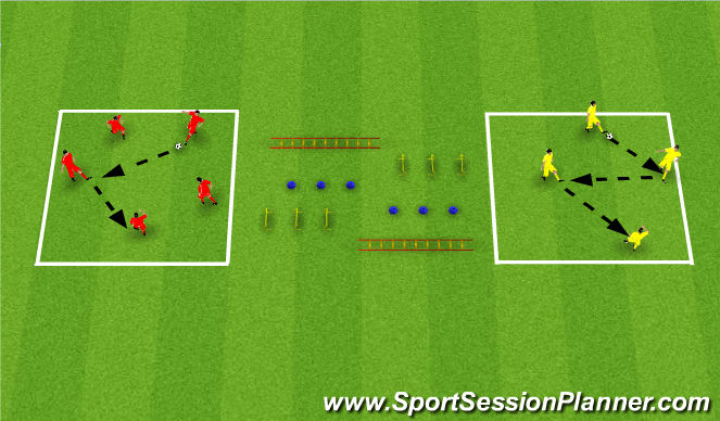 Football/Soccer Session Plan Drill (Colour): Pass, Move & SAQ
