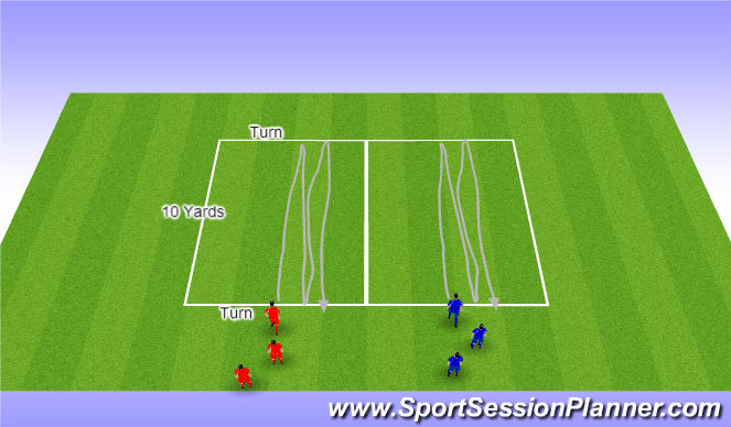 Football/Soccer Session Plan Drill (Colour): Turn Relay