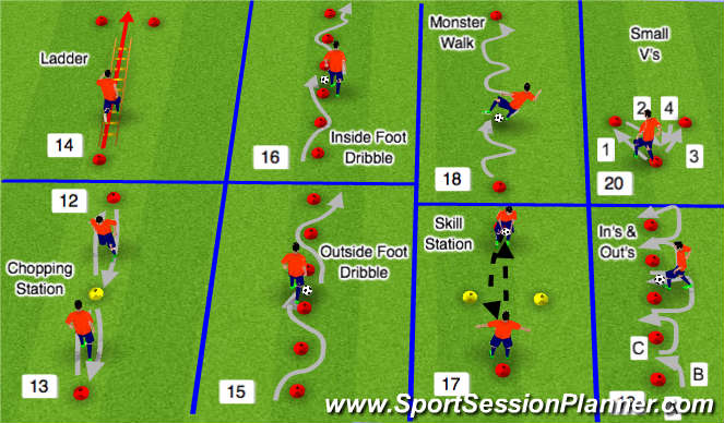Football/Soccer Session Plan Drill (Colour): Warm Up 12-20