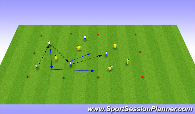 Football/Soccer Session Plan Drill (Colour): Free passing move
