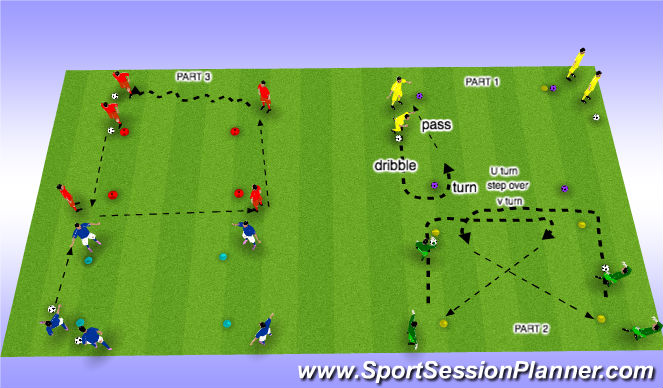 Football/Soccer Session Plan Drill (Colour): Passing in a square