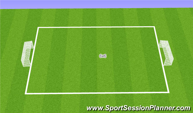 Football/Soccer Session Plan Drill (Colour): 6v6 + Keeper Scrimmage