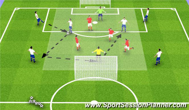Football/Soccer Session Plan Drill (Colour): SSG 6+2v4