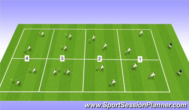 Football/Soccer Session Plan Drill (Colour): Ball Control in 3s