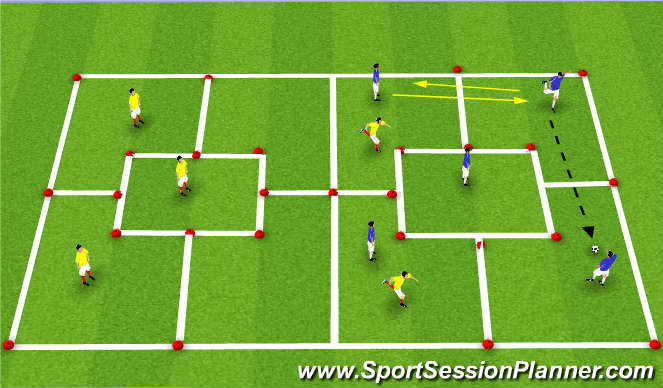 Football/Soccer Session Plan Drill (Colour): 5 vs. 2 in 5 Grids