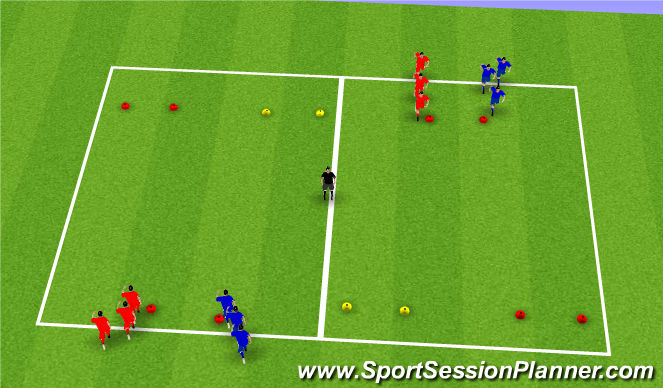 Football/Soccer Session Plan Drill (Colour): 1vs1 without ball- agilty