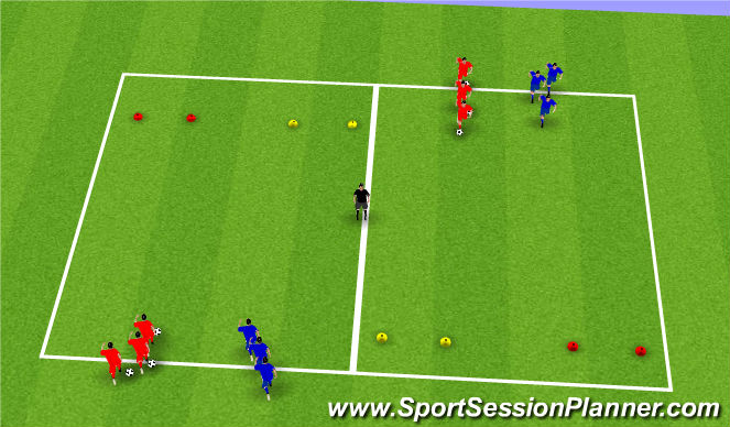 Football/Soccer Session Plan Drill (Colour): 1vs1 with ball