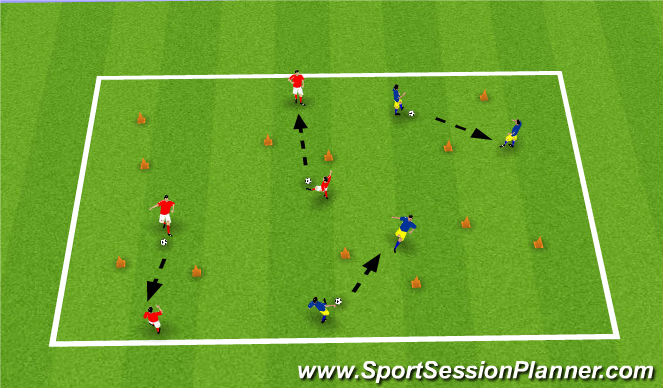 Football/Soccer Session Plan Drill (Colour): Passing through Gates with Movement