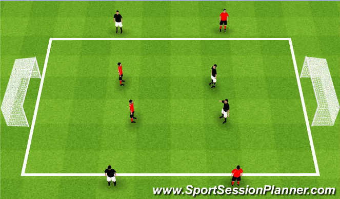 Football/Soccer Session Plan Drill (Colour): Teams of 4 - 2v2